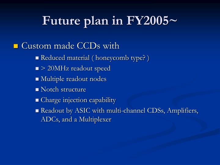 Future plan in FY2005~