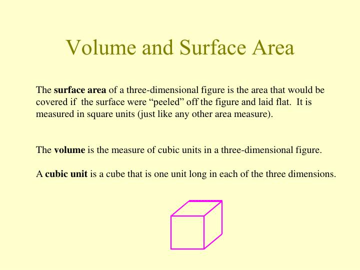 volume and surface area n.
