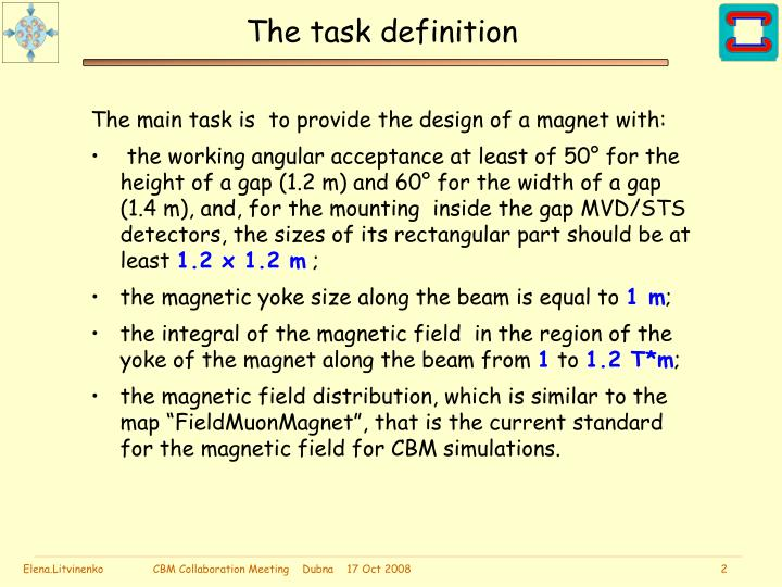 The task definition