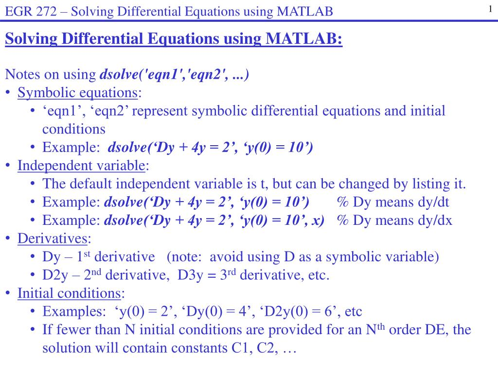 Ppt Solving Differential Equations Using Matlab Notes On Solve This Second Order Equation For A Rlc Series Circuit Download Skip Video Loading Slideshow In 5 Seconds
