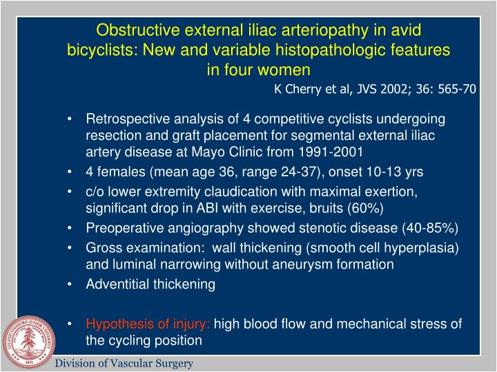 Obstructive external iliac arteriopathy in avid bicyclists: New and variable histopathologic features in four women