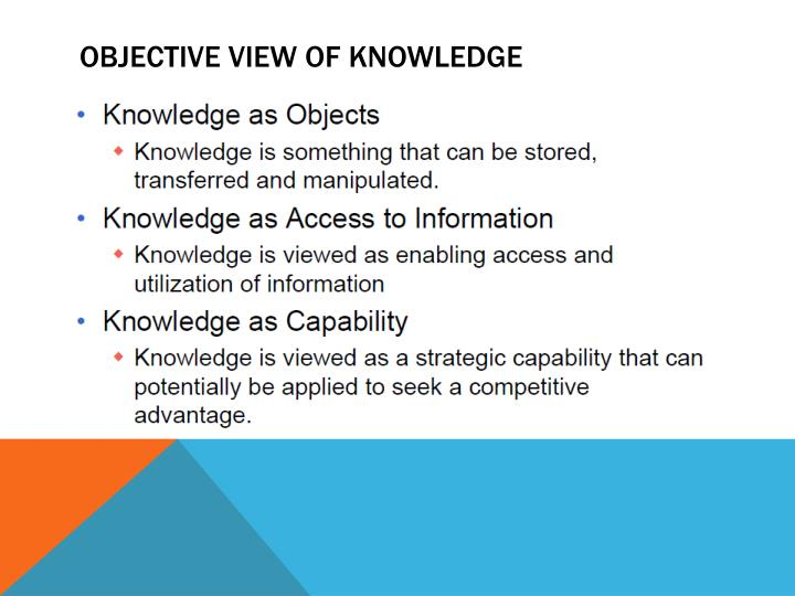 OBJECTIVE VIEW OF KNOWLEDGE