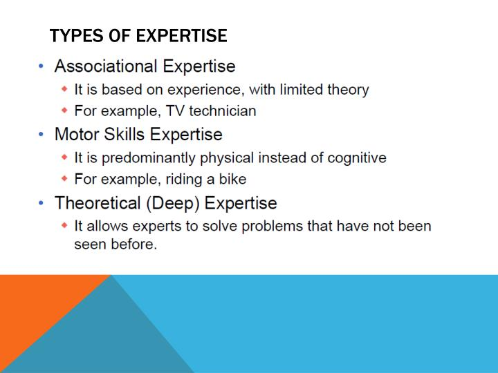 TYPES OF EXPERTISE