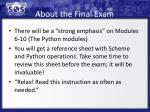 about the final exam