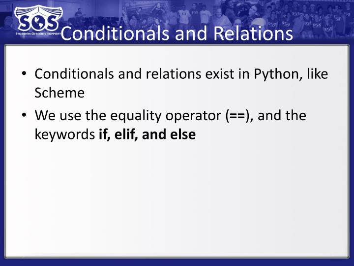 Conditionals and Relations