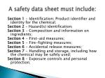 a safety data sheet must include