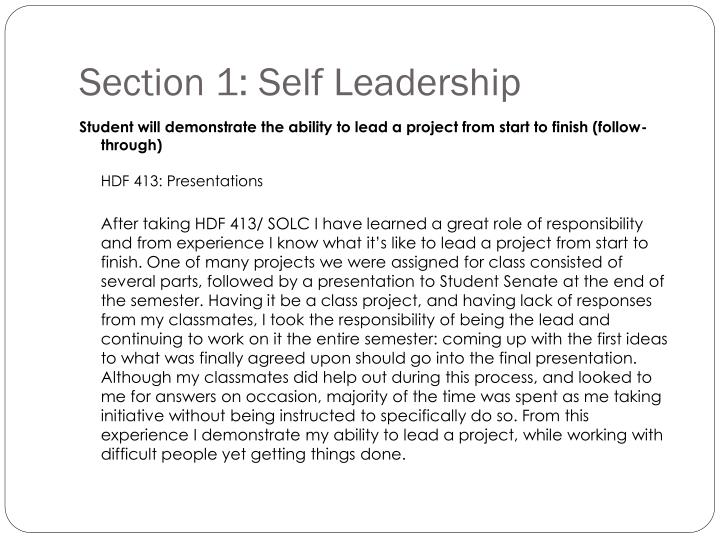 Section 1: Self Leadership