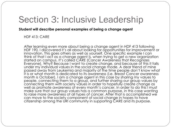 Section 3: Inclusive Leadership