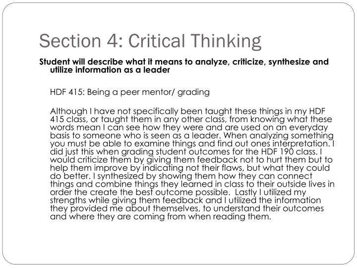 Section 4: Critical Thinking