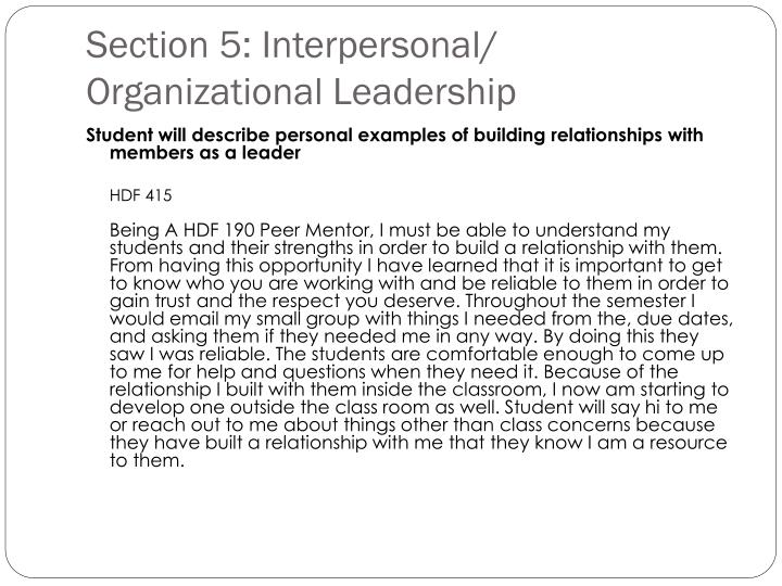 Section 5: Interpersonal/ Organizational Leadership