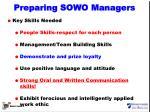 preparing sowo managers