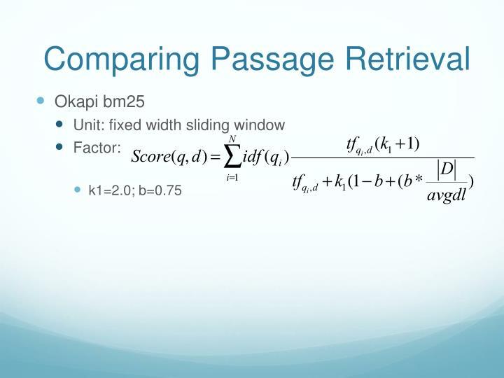 Comparing Passage Retrieval