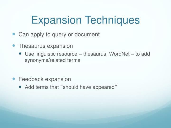 Expansion Techniques