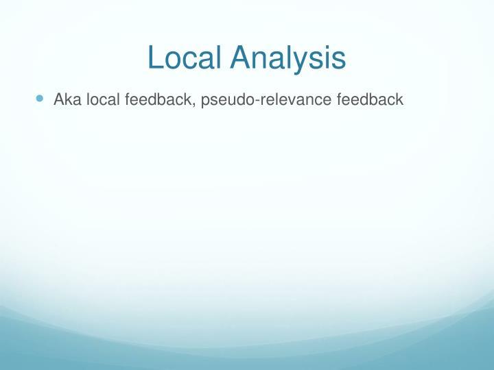 Local Analysis