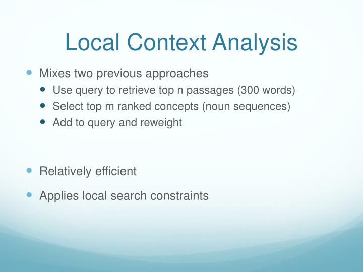 Local Context Analysis