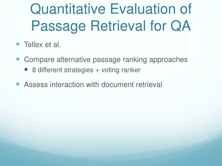 Quantitative Evaluation of Passage
