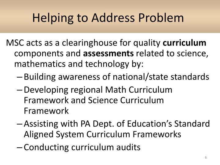 Helping to Address Problem