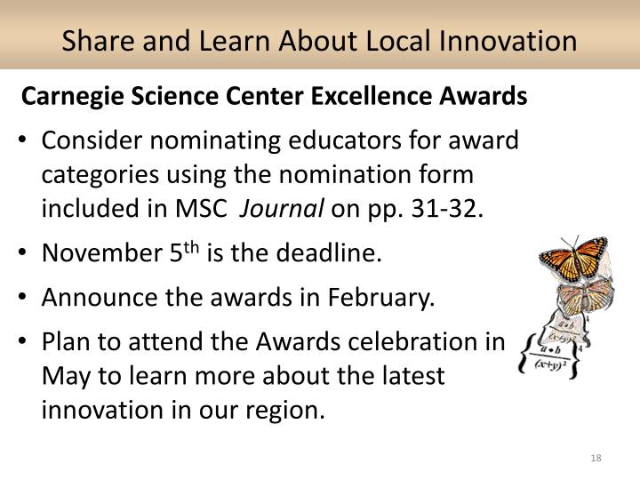Share and Learn About Local Innovation