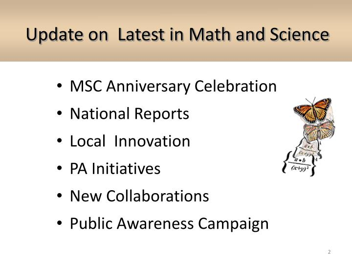 Update on latest in math and science