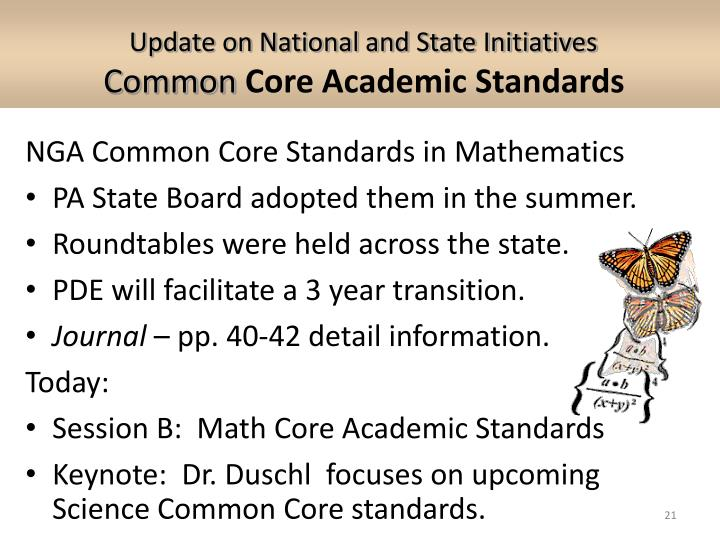 Update on National and State Initiatives