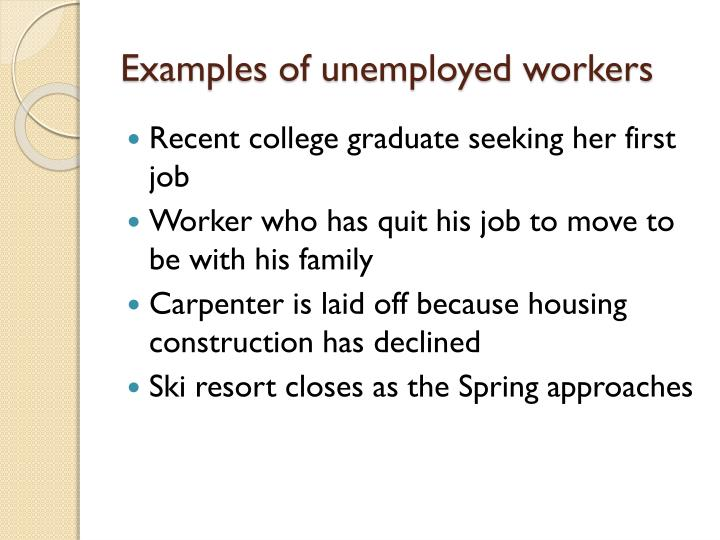 Examples of unemployed workers