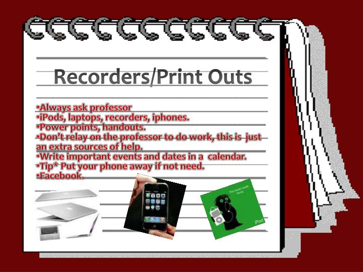 Recorders/Print Outs