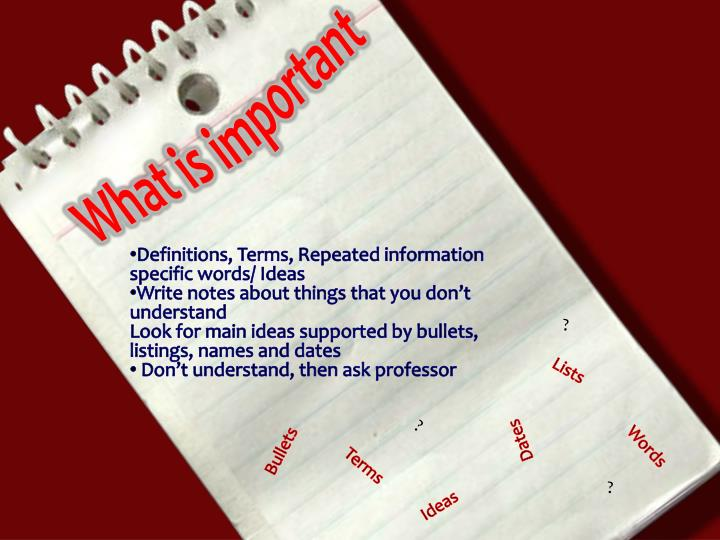 What is important