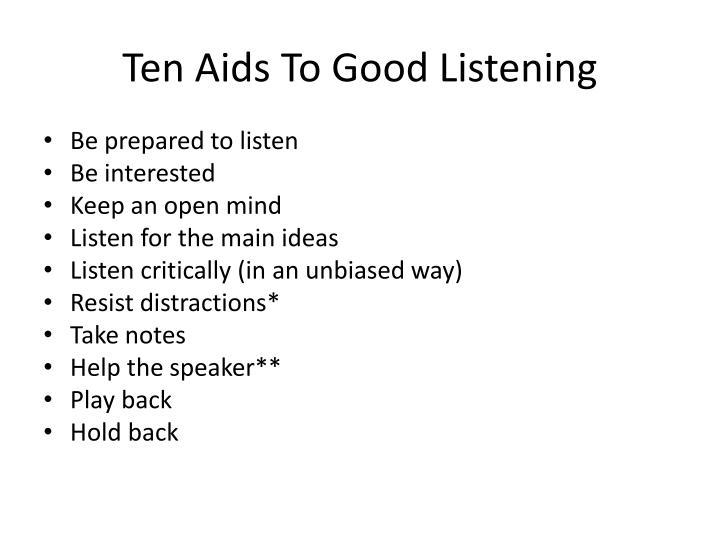 Ten Aids To Good Listening