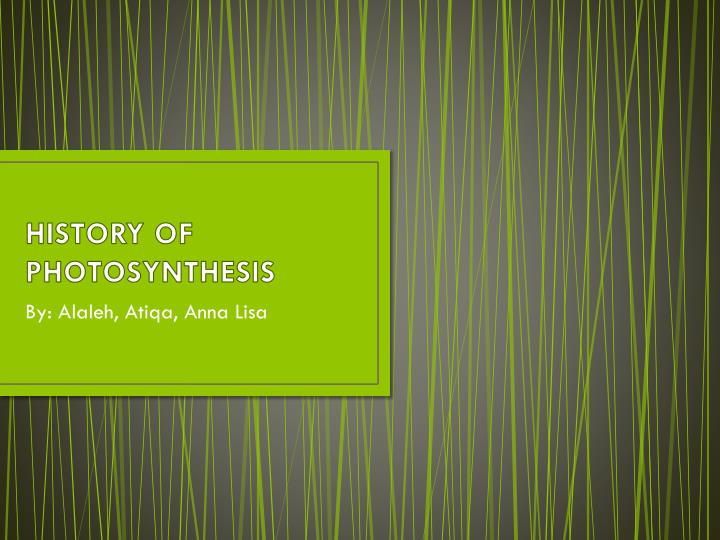 history of photosynthesis n.