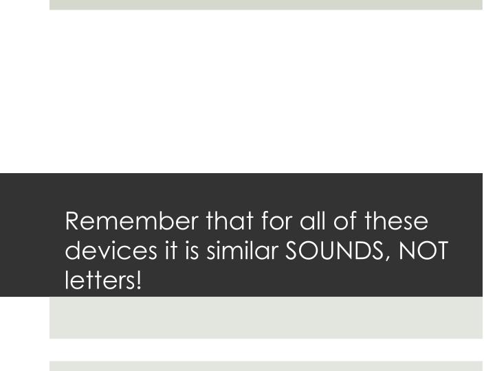 Remember that for all of these devices it is similar SOUNDS, NOT letters!