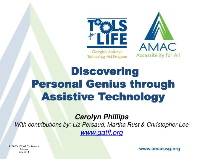 discovering personal genius through assistive technology n.