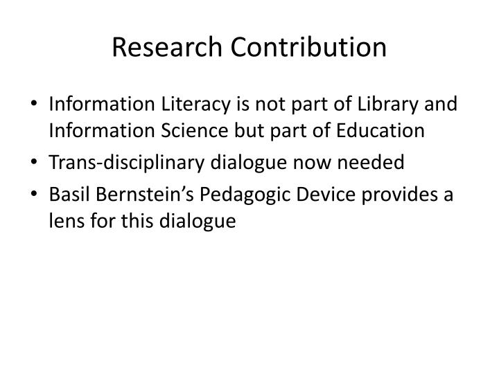 Research Contribution