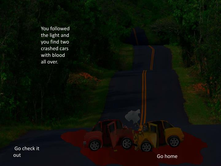 You followed the light and you find two crashed cars with blood all over.