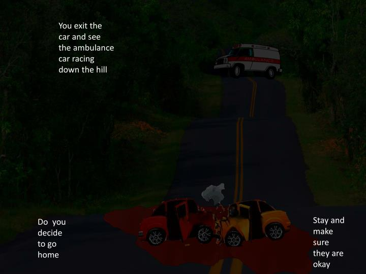 You exit the car and see the ambulance car racing down the hill