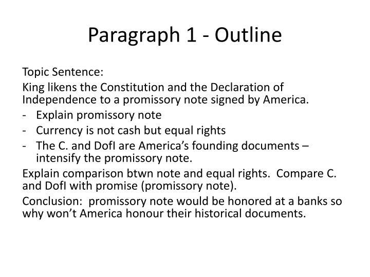 Paragraph 1 outline