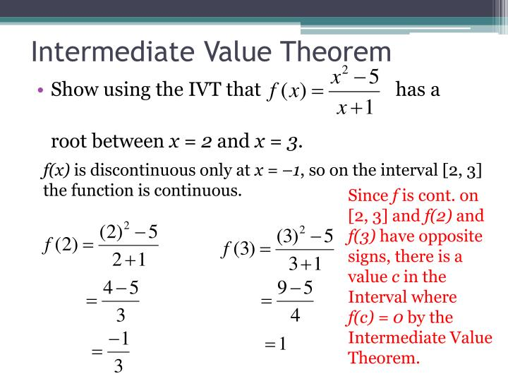 Ppt 23 Continuity And Intermediate Value Theorem Powerpoint