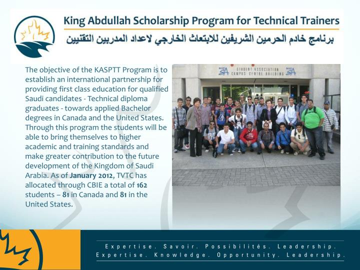 The objective of the KASPTT Program is to establish an international partnership for providing first...