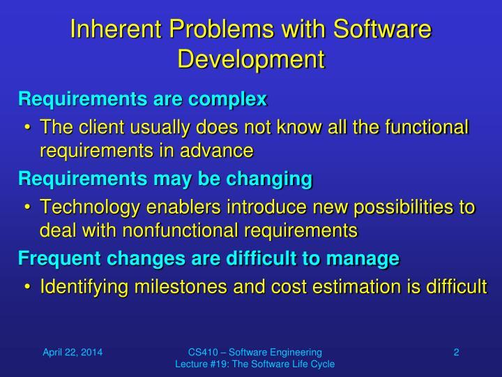 Inherent problems with software development