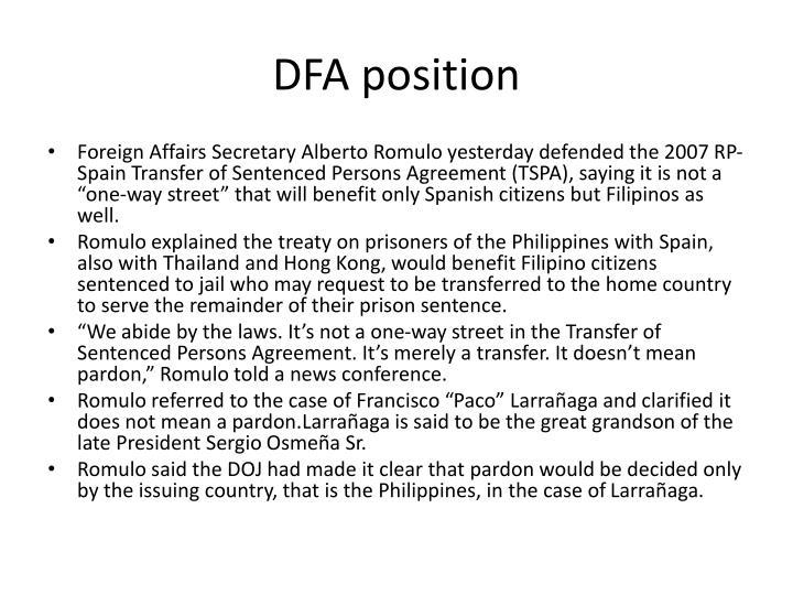 DFA position