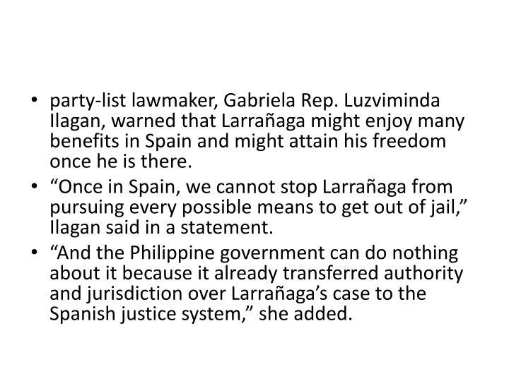 party-list lawmaker, Gabriela Rep.