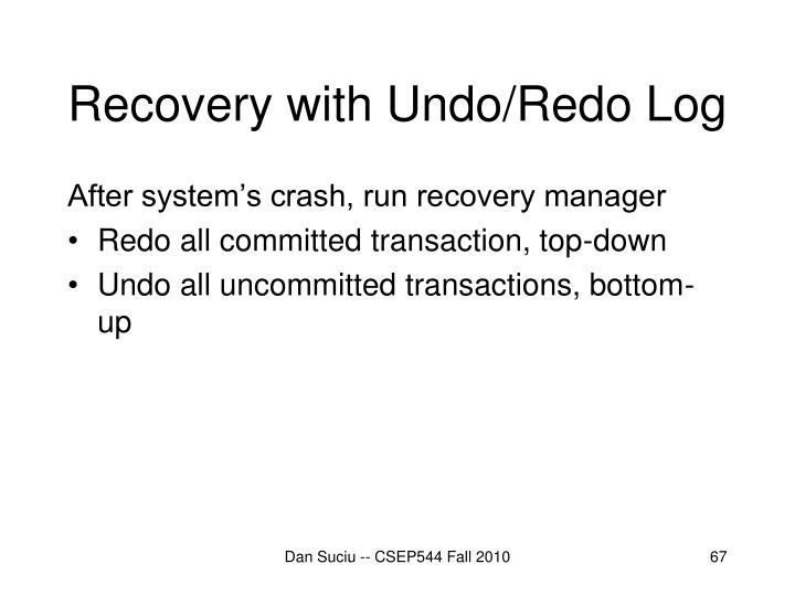 Recovery with Undo/Redo Log