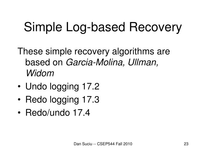 Simple Log-based Recovery