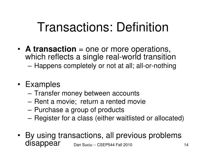 Transactions: Definition