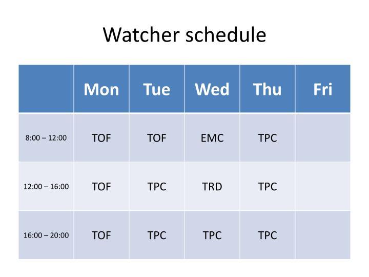 Watcher schedule