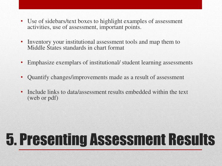 Use of sidebars/text boxes to highlight examples of assessment activities, use of assessment, important points.