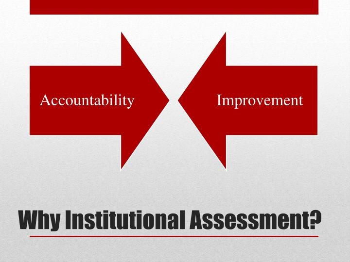 Why institutional assessment