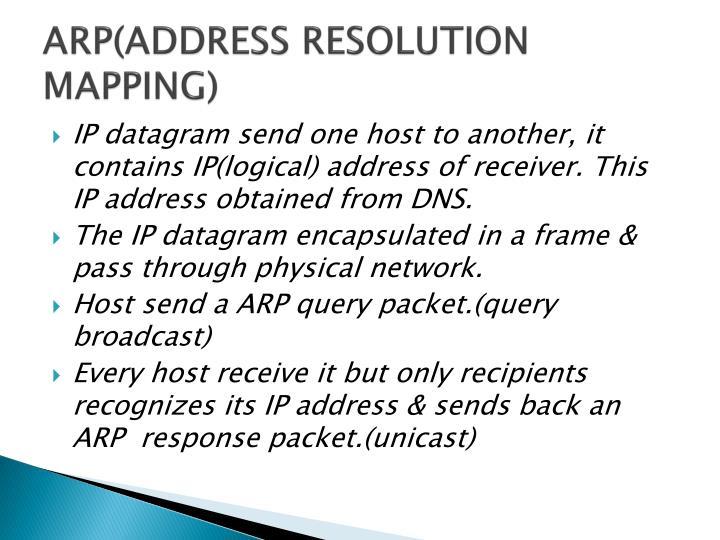 ARP(ADDRESS RESOLUTION MAPPING)