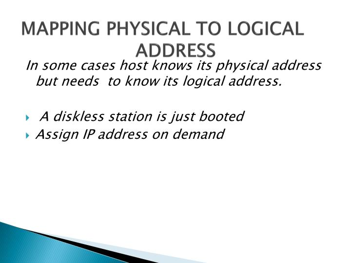 MAPPING PHYSICAL TO LOGICAL