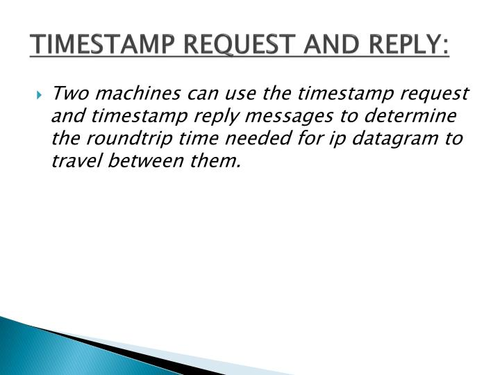 TIMESTAMP REQUEST AND REPLY: