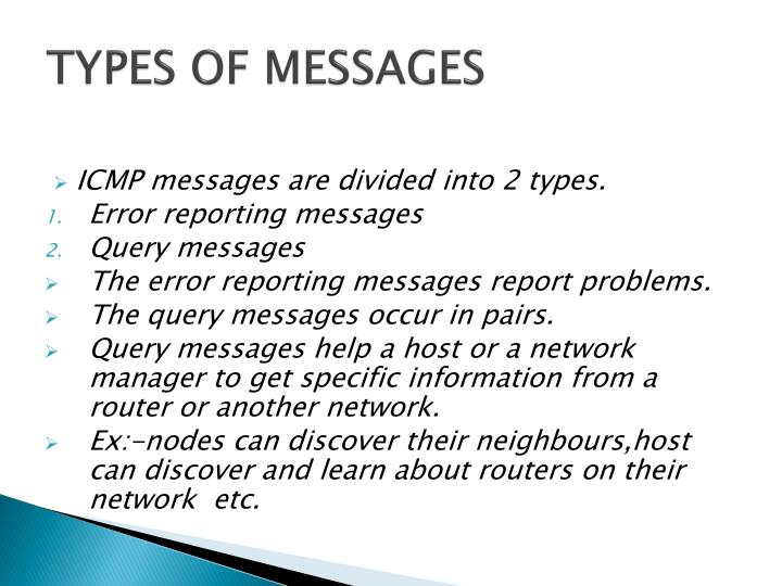 TYPES OF MESSAGES